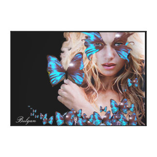 MYSTERIOUS BEAUTY WITH BLUE BUTTERFLY CANVAS PRINT