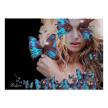 MYSTERIOUS BEAUTY WITH BLUE BUTTERFLY POSTER