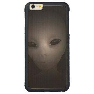 Mysterious black Alien Carved® Maple iPhone 6 Plus Bumper Case