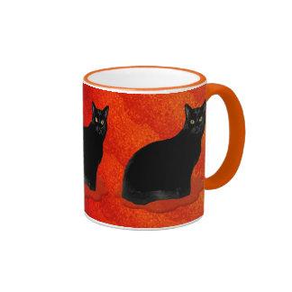 Mysterious Black Cat Ringer Mug