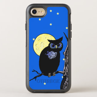 Mysterious Black Owl in Night Sky Moon Stars OtterBox Symmetry iPhone 7 Case