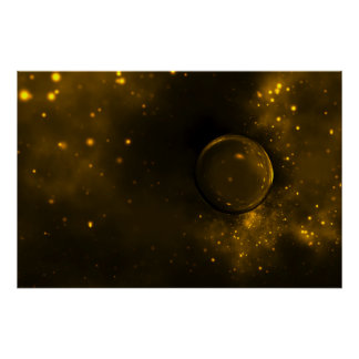 Mysterious Golden Sphere Sci Fi Art Poster
