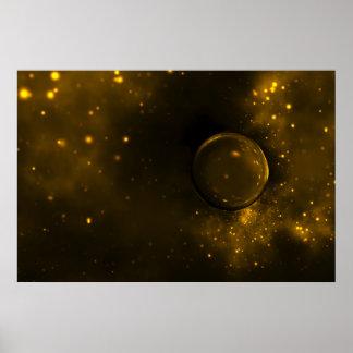 Mysterious Golden Sphere Sci Fi Art Poster