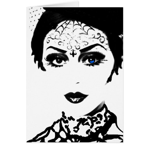 Mysterious Gothic Lady Greeting Cards