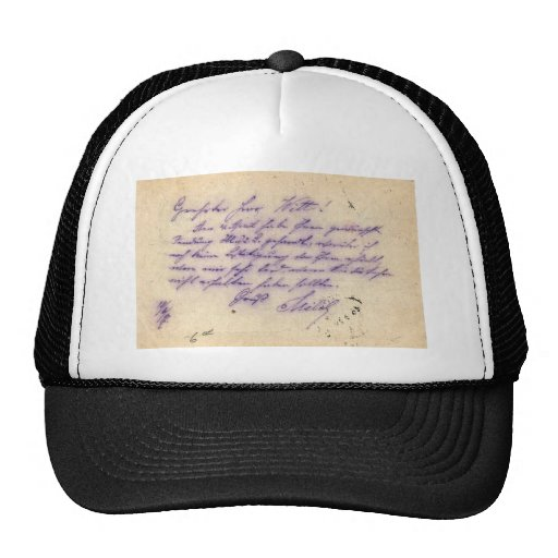 Mysterious handwriting - postal card mailed 1897 mesh hats
