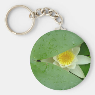 Mysterious lily basic round button key ring