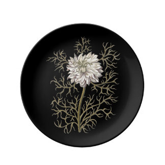 Mysterious Medieval Flower Porcelain Plate