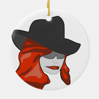 Mysterious Redhead Christmas Ornament