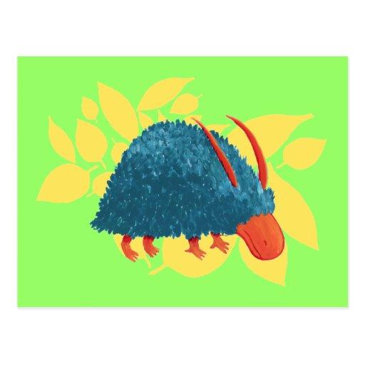 Mysterious shrub-monster post card