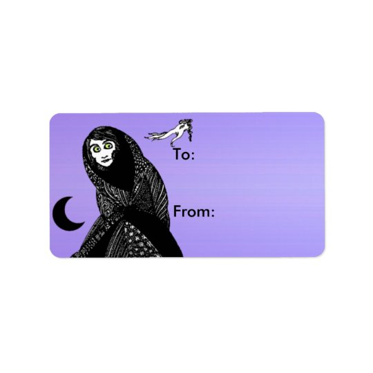 Mysterious Spooky Woman Moon Hand Gift Tags