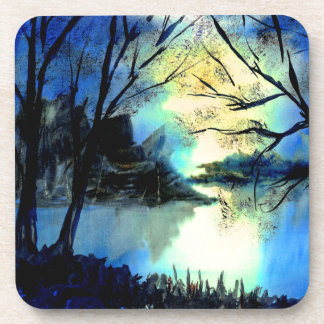 Mysterious Watercolour Sunset Lake Coasters (6)