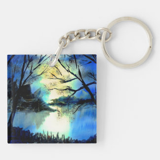 Mysterious Watercolour Sunset Lake Key Ring