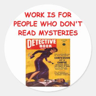 mystery book round sticker