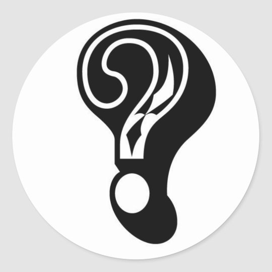 mystery box company question mark round sticker