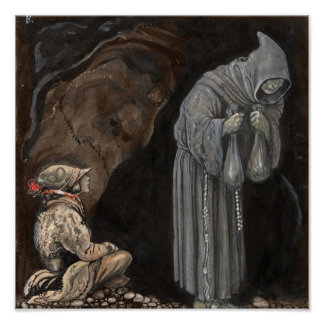 Mystery Figure in Hooded Cloak with Boy Poster
