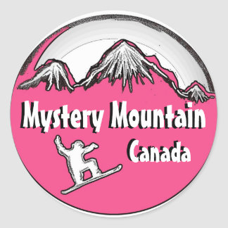 Mystery Mountain Canada pink snowboard stickers