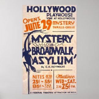 Mystery of Broadwalk Asylum Vintage Poster