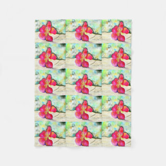 Mystery Pink Flower Watercolor Fleece Blanket