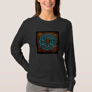 Mystic blue celtic knot on leather T-Shirt