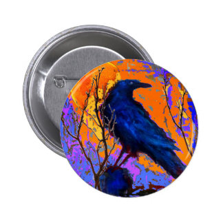 Mystic Blue Raven Moon By Sharles 6 Cm Round Badge
