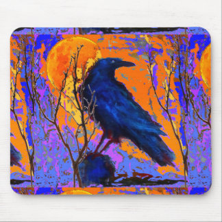 Mystic Blue Raven Moon By Sharles Mouse Mat