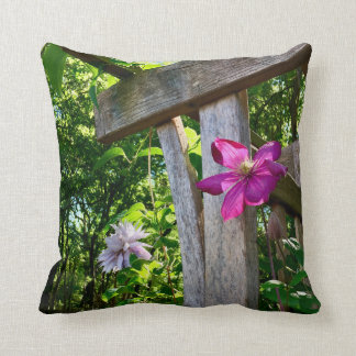 "Mystic Clematis Flower Throw Pillow 16"" x 16"""