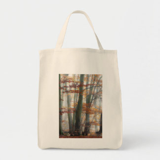 Mystic Foggy Forest in autumn Grocery Tote Bag