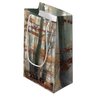 Mystic Foggy Forest in autumn Small Gift Bag