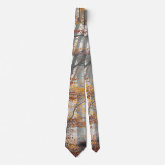 Mystic Foggy Forest in autumn Tie
