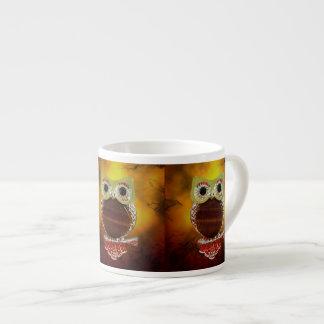 Mystic Glow Gold & Wood Tree Owl Espresso Mug