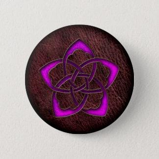 Mystic glow purple celtic flower on leather 6 cm round badge