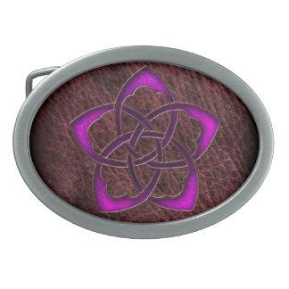 Mystic glow purple celtic flower on leather belt buckles