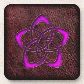 Mystic glow purple celtic flower on leather drink coaster