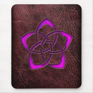 Mystic glow purple celtic flower on leather mouse mat