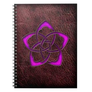 Mystic glow purple celtic flower on leather notebook
