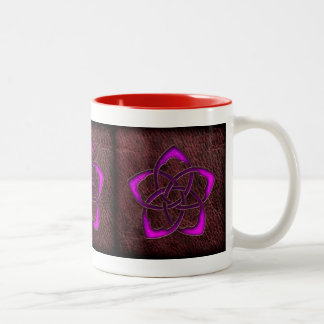 Mystic glow purple celtic flower on leather Two-Tone coffee mug