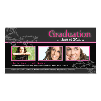 Mystic Goth Graduation Announcement pink Personalized Photo Card