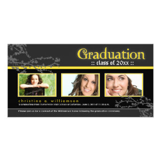 Mystic Goth Graduation Announcement (yellow) Picture Card