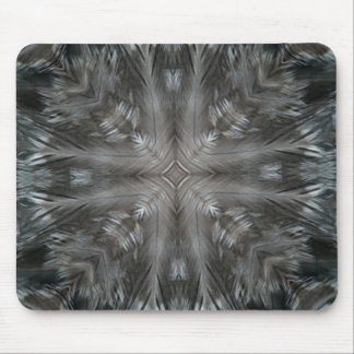 Mystic Gray Feather Kaleidoscope Mouse Pads