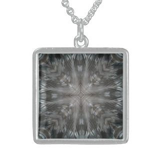 Mystic Gray Feather Kaleidoscope Custom Necklace