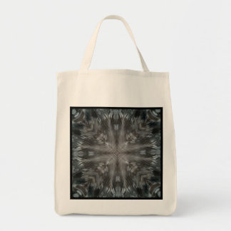 Mystic Gray Feather Kaleidoscope Reusable Tote Bags