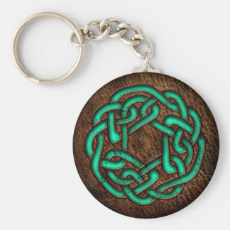 Mystic green celtic knot on leather basic round button key ring