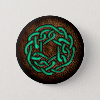Mystic green celtic ornament on leather 6 cm round badge