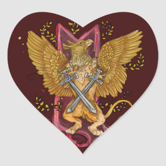 Mystic Gryphon with swords Heart Sticker