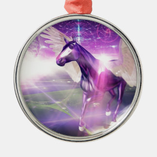 Mystic Horse Silver-Colored Round Decoration