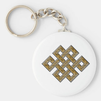 Mystic Knot - Silver & Gold 2 Basic Round Button Key Ring