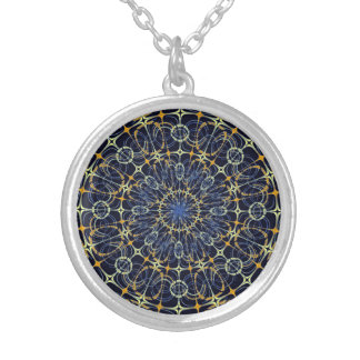 Mystic mandala silver plated necklace