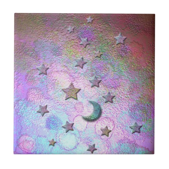 Mystic Metallic Moons and Stars Pastel Small Square Tile