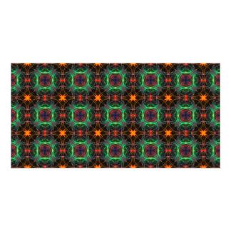 Mystic orange and emerald pattern picture card