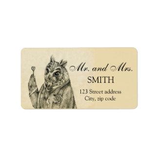 Mystic owl in a suit vintage label
